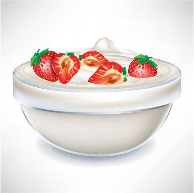 yogurt cream in transparent bowl with strawberry