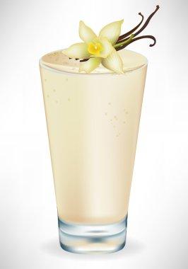 vanilla milkshake in glass