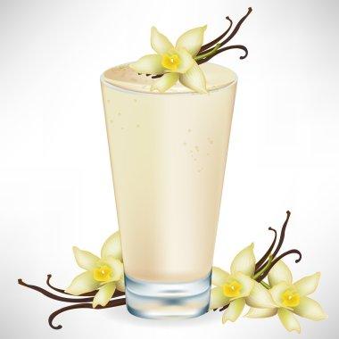 vanilla milkshake with vanilla flower