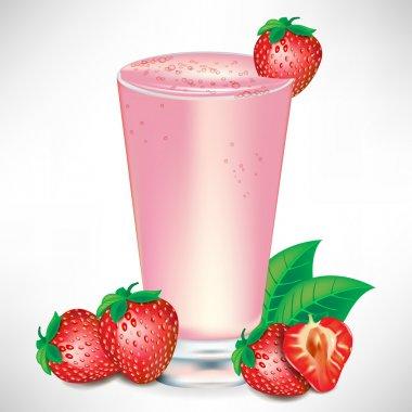 strawberry milkshake with strawberry fruit
