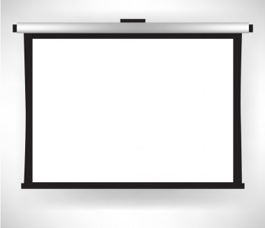 white empty projector screen isolated