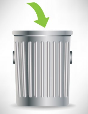 single trashcan with green arrow
