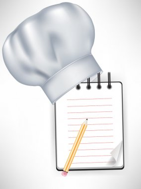 chef hat with recipe notebook and pencil