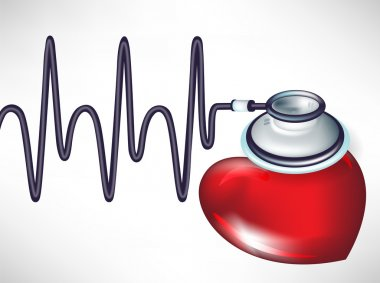 Stethoscope and heart beats isolated on white stock vector