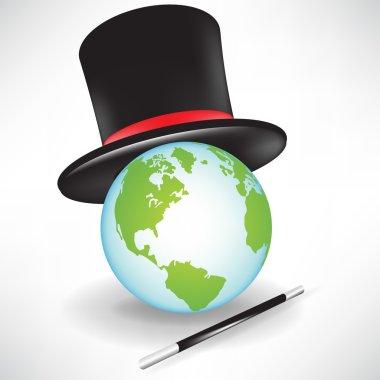 world globe with magic hat and wand