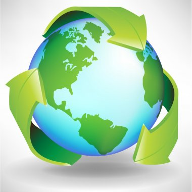 green earth globe recycle concept