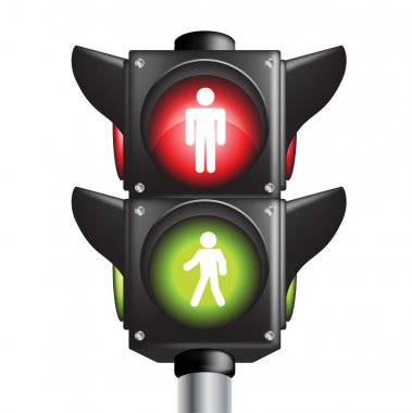 Pedestrian traffic light sign with go and stop indicators