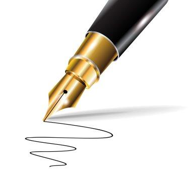 Fountain luxury pen with written trace