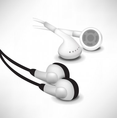 Black and white sets of headphones