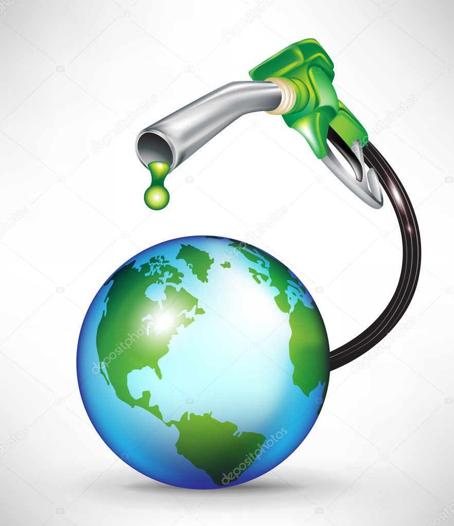 Gas pump droppping green oil onto earth globe