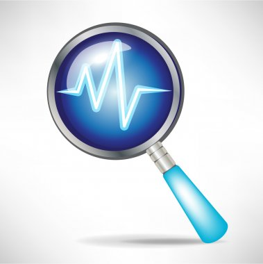 Diagnostic icon with magnifying glass stock vector