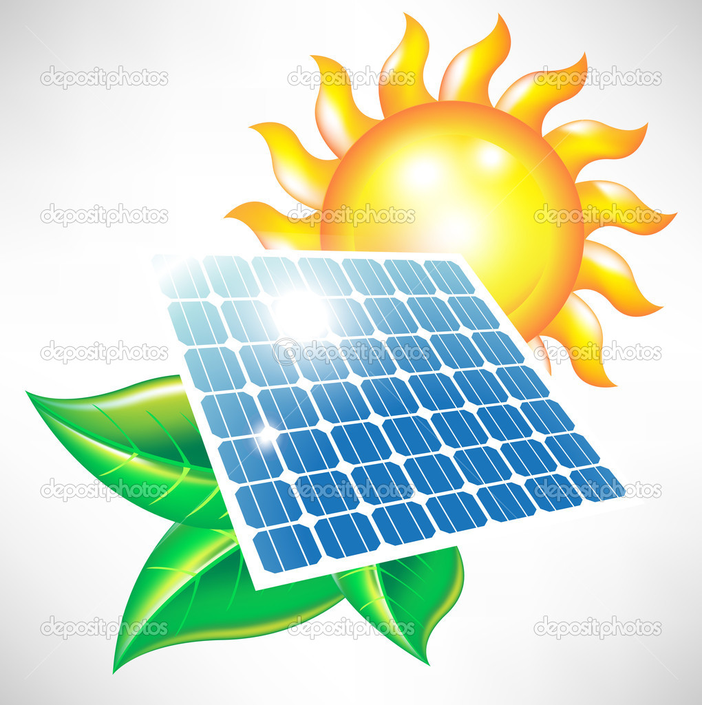 Solar energy panel with sun and leaves