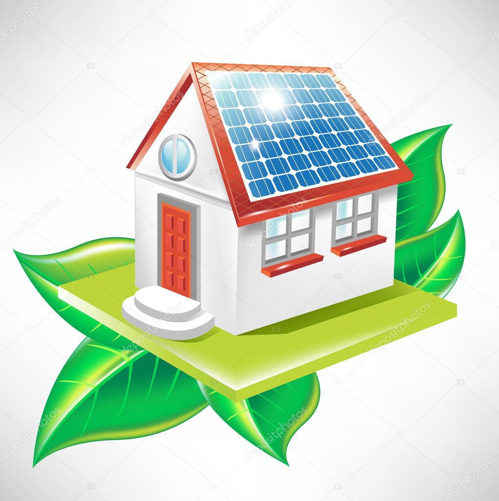 House with solar panel; alternative energy icon
