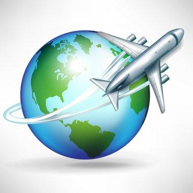 Airplane circling around the globe