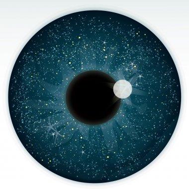 Night sky in blue eye