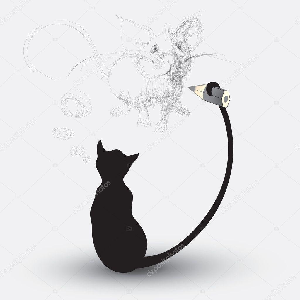 Kot Rysunek Myszy Grafika Wektorowa Muamu 6774966