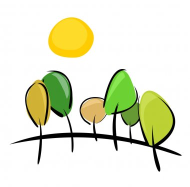 Trees on the hill at sunny day vector illustration