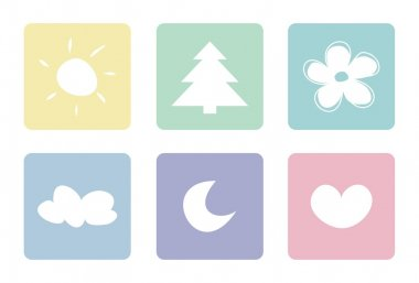 Pastel vector icons isolated on white background
