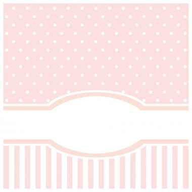 Sweet pink polka dots vector card or invitation for birthday & baby show