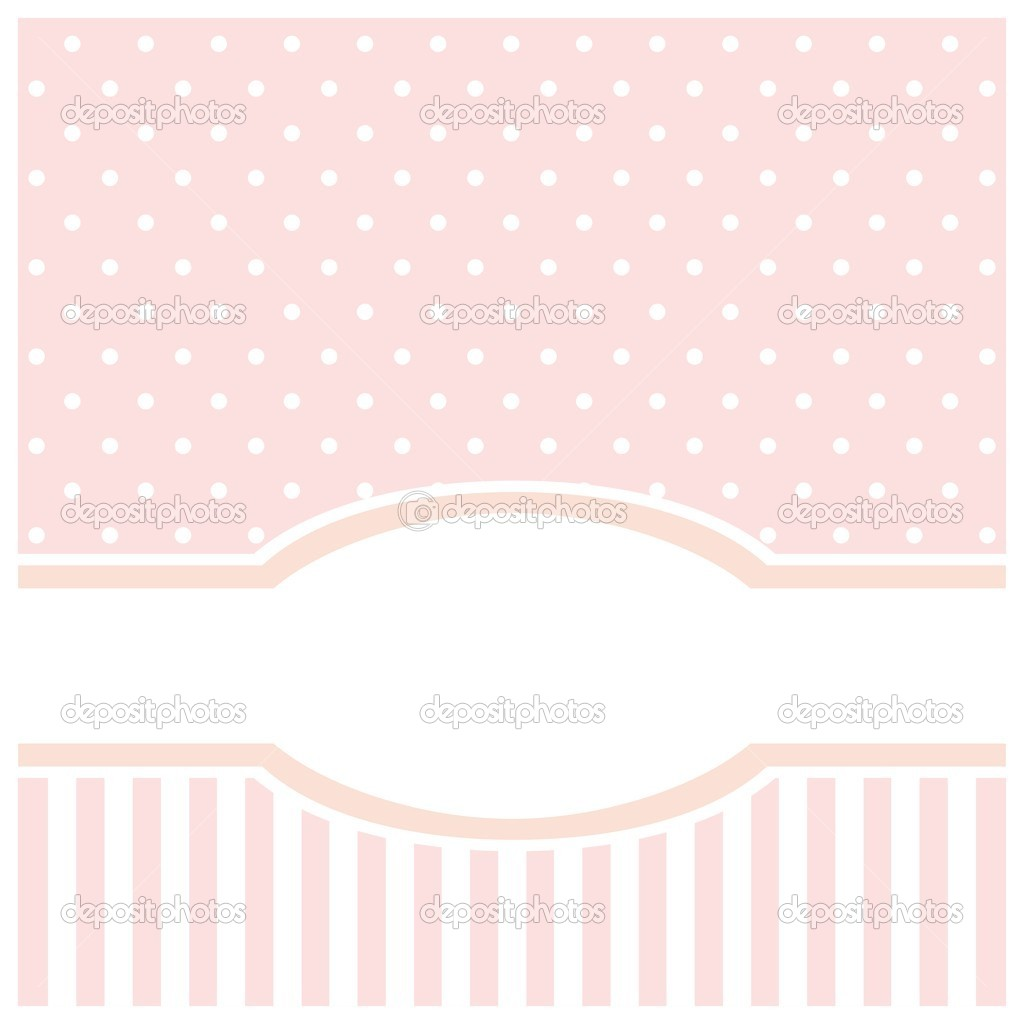 Sweet pink polka dots vector card or invitation for birthday baby sweet pink vector birthday or baby shower party card or wedding invitation with strips and polka dots cute background with white space to put your text stopboris Images