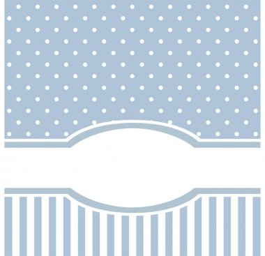 Sweet blue polka dots vector card invitation - birthday, baby shower, wedding