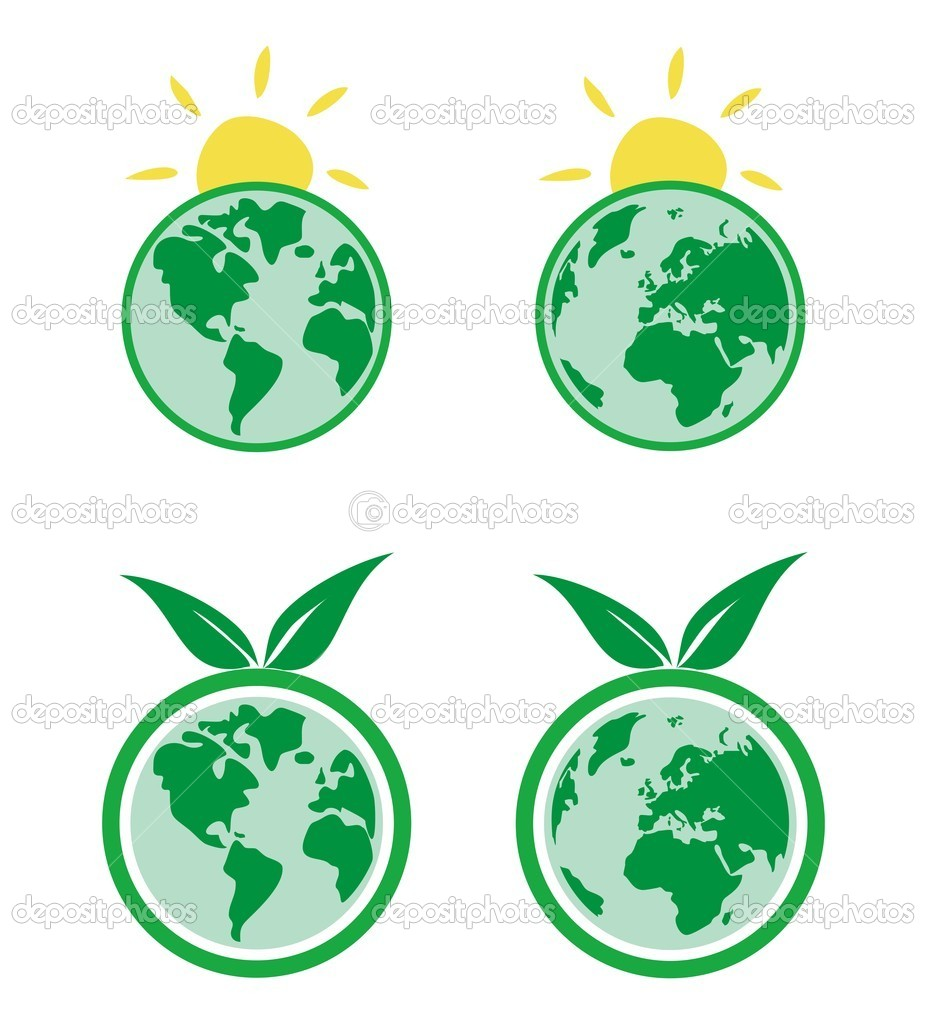 Vector ecology icons with planet Earth and sun
