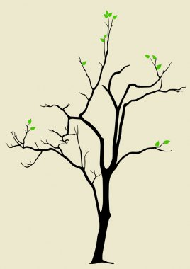 Illustration of a tree with a couple of leaves on it clip art vector