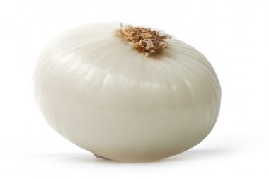 Single peeled white onion isolated