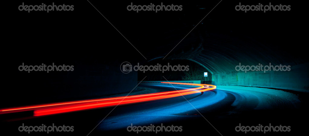 Car light trails in the tunnel