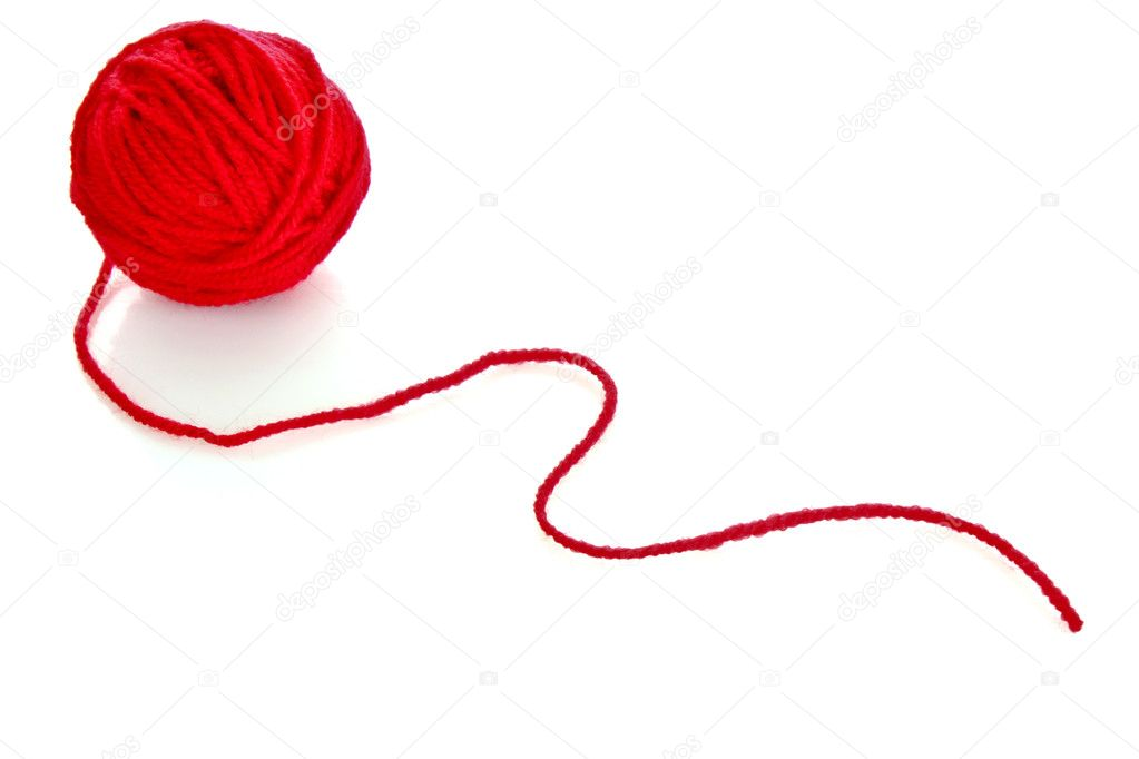 bola roja de lana rojo Hilo aislado en blanco — Foto de stock ...