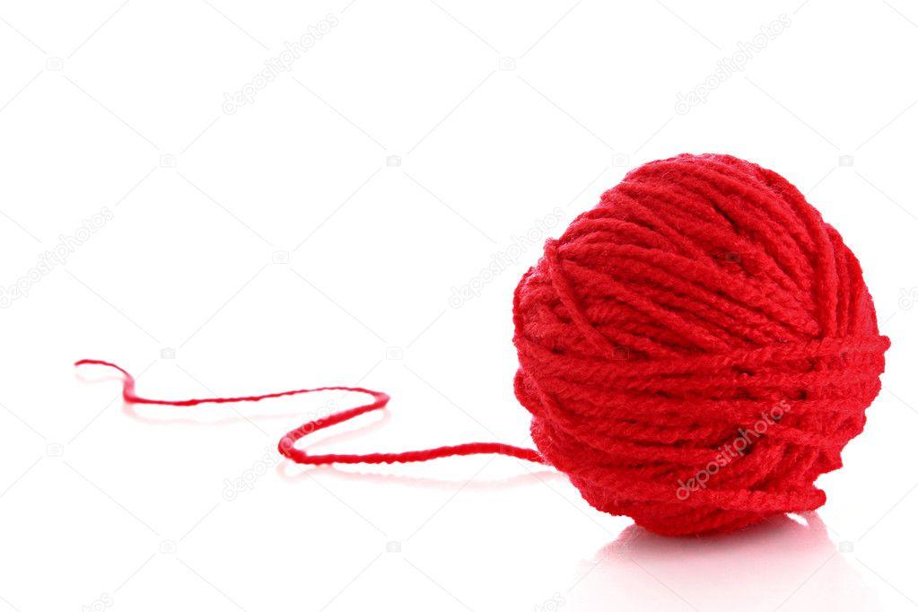 Lana roja natural | bola roja de lana rojo Hilo aislado en blanco ...