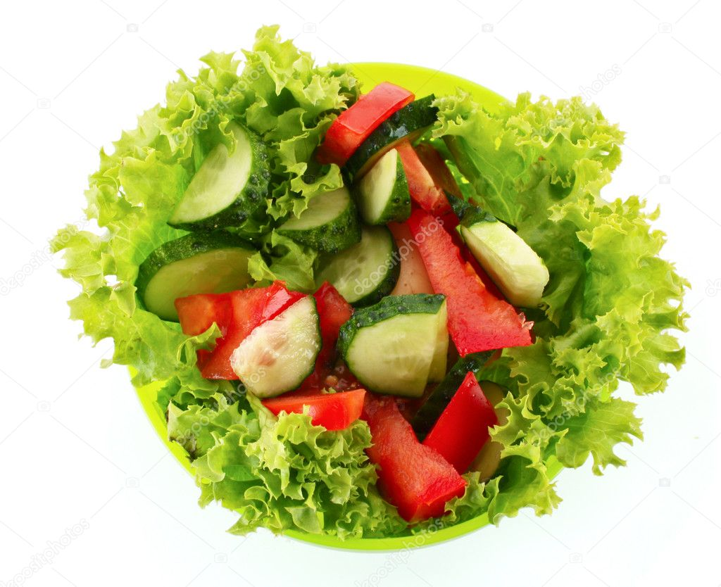 Green Salad Cucumber And Tomato In Green Plate Isolated On White Stock Photo Image By C Belchonock 6785313