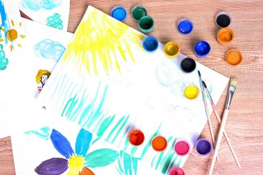 Children's drawings and paint