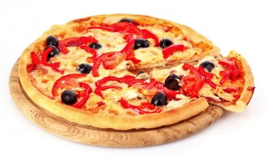 Pizza with olives on plate isolated on white