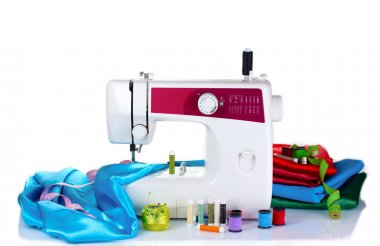 Sewing machine and fabric isolated on white stock vector
