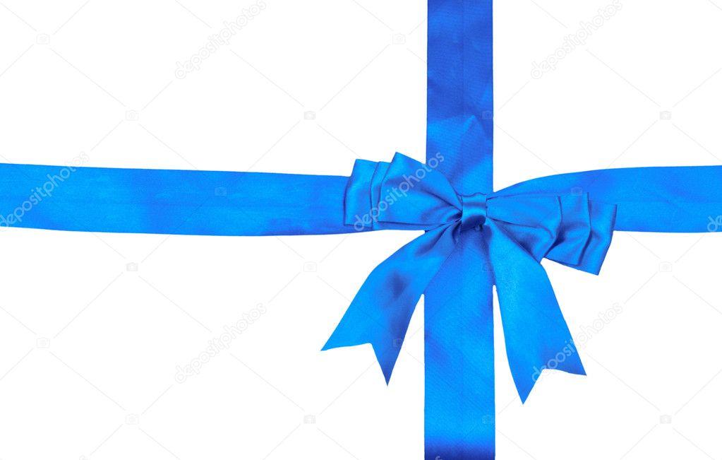 Nastro Azzurro E Fiocco Isolato Su Sfondo Bianco Foto Stock