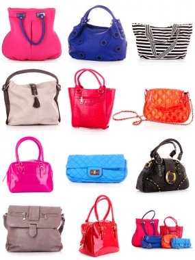 Collage of colorful bags. isolated on white