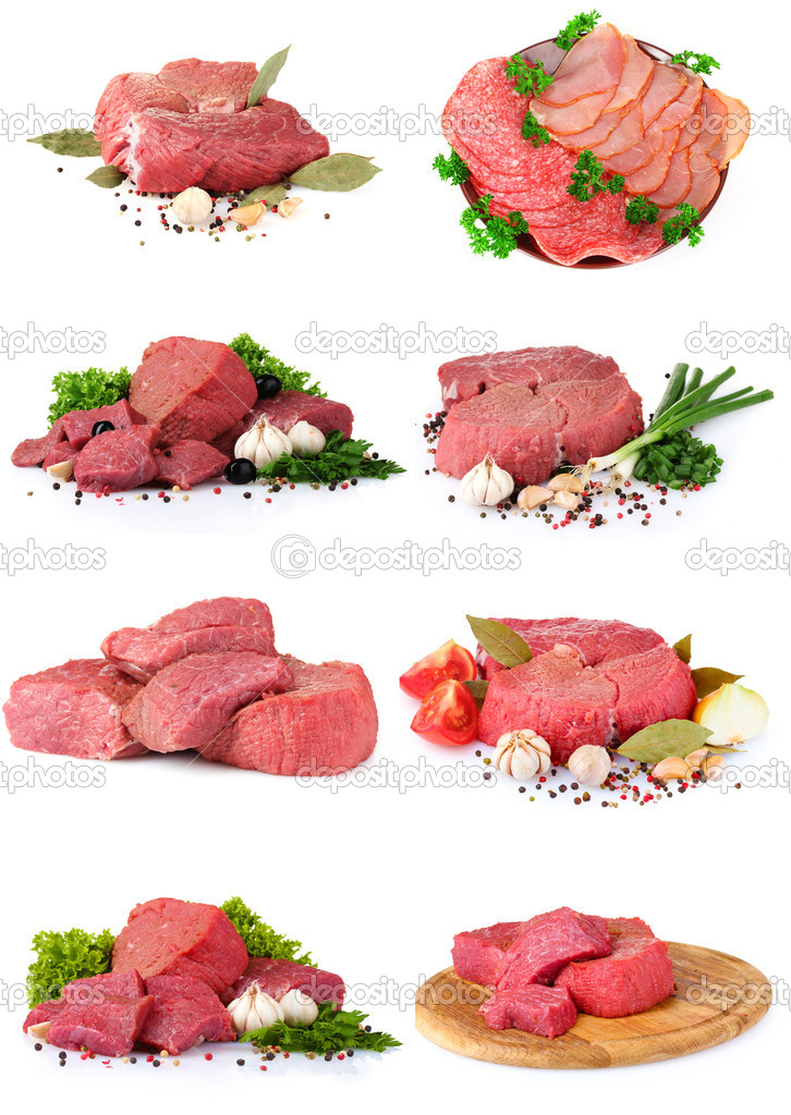 Fresh raw meat collection
