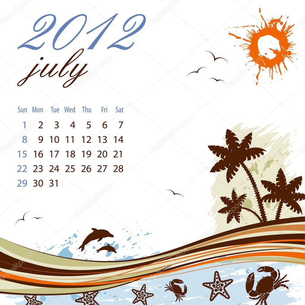 kalendar cervenec 2012 Kalendář na Červenec 2012 — Stock Vektor © TAlexey #7266885 kalendar cervenec 2012