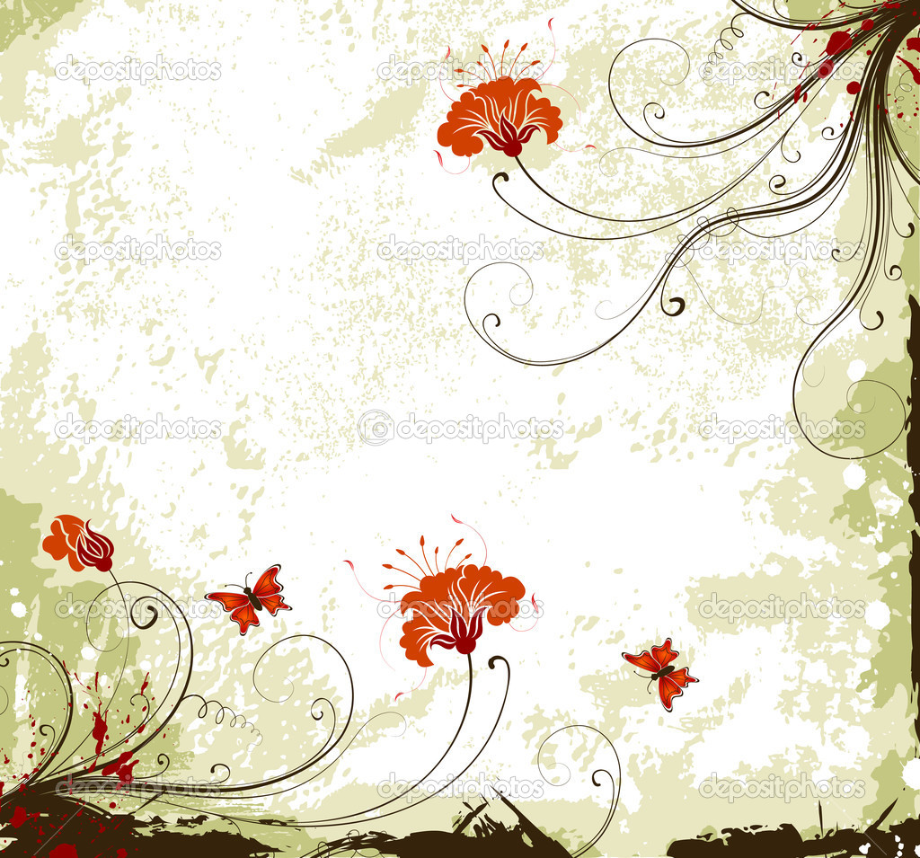 Grunge flower background — Stock Vector © TAlexey #7418697