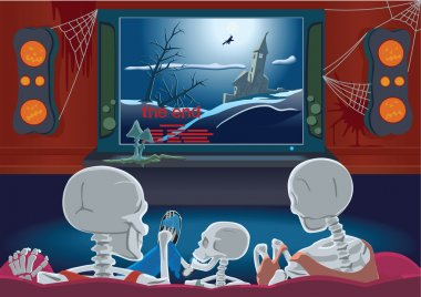 Family of skeletons are watching TV