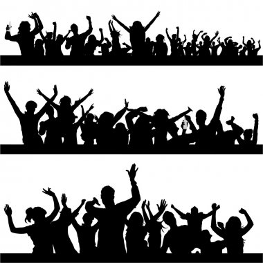 Set of party peoples silhouette stock vector