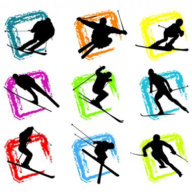 Ski silhouette background