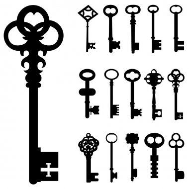Set of key silhouette stock vector