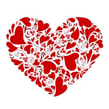 Decorative hearts within heart clip art vector
