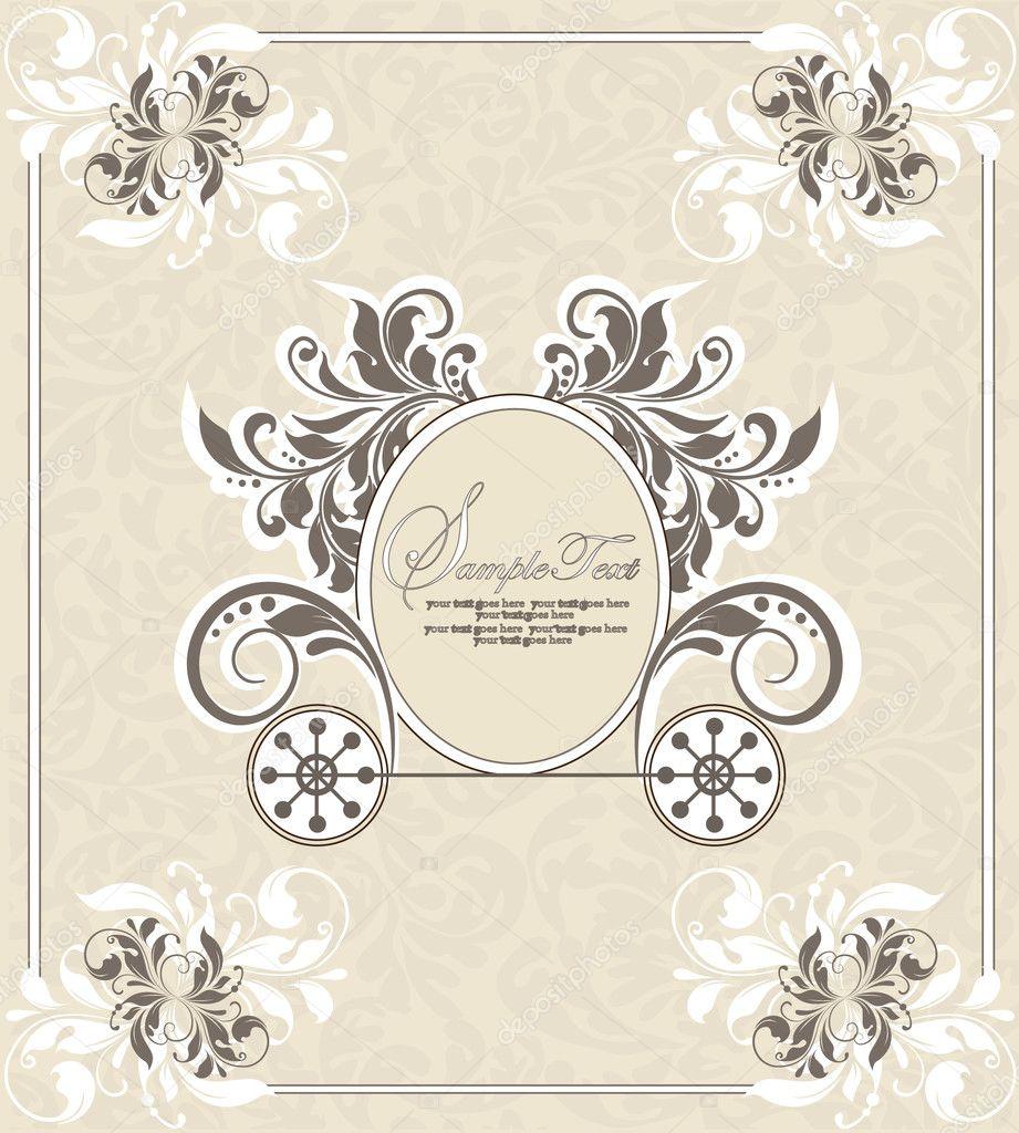 Wedding Invitation Design Vintage. Vintage wedding invitation design with carriage  Stock Vector