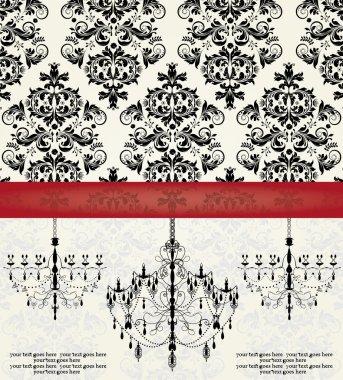 Romantic Invitation Card Design With Chandelier