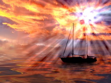 """Картина, постер, плакат, фотообои """"закат над океаном фото"""", артикул 6812354"""