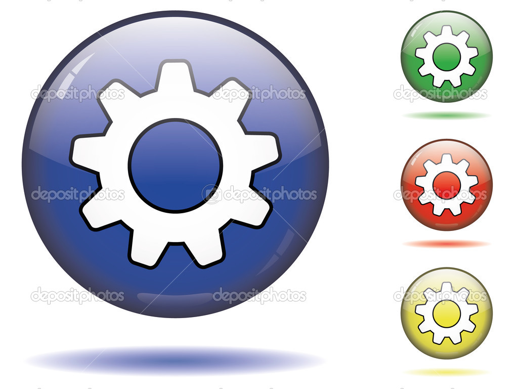 glossy settings button  u2014 stock vector  u00a9 renegadehomie  7527174