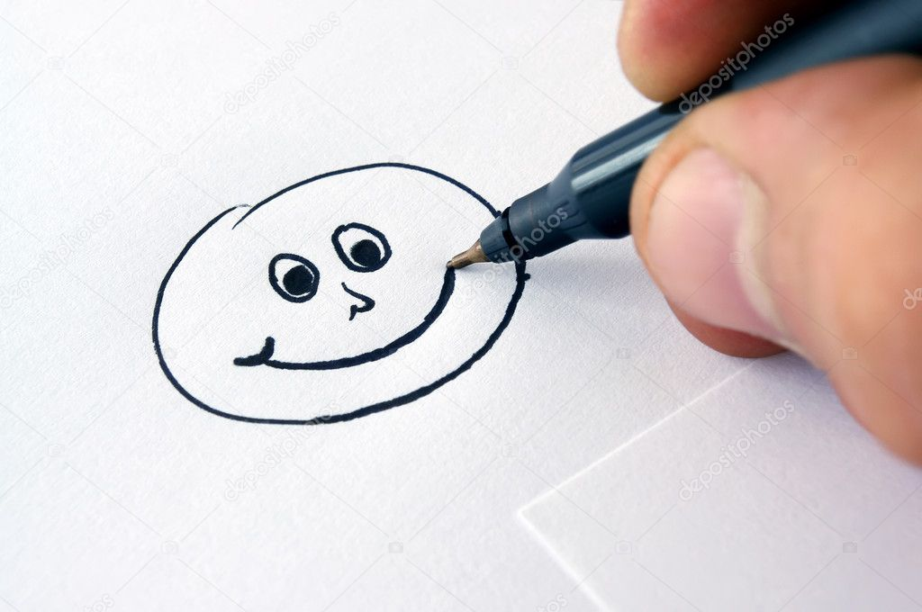 Drawing smiley face stock photo